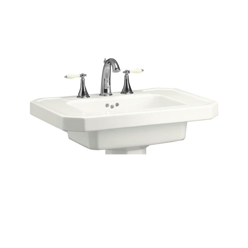 Kathryn 27 in. Ceramic Pedestal Sink Basin in White with Overflow