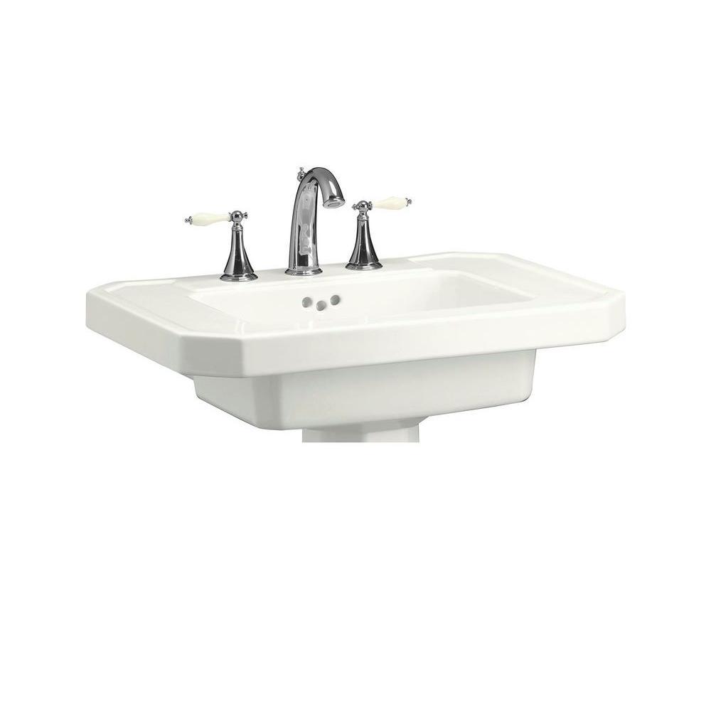 Kathryn 27 in. Ceramic Pedestal Sink Basin in White with Overflow