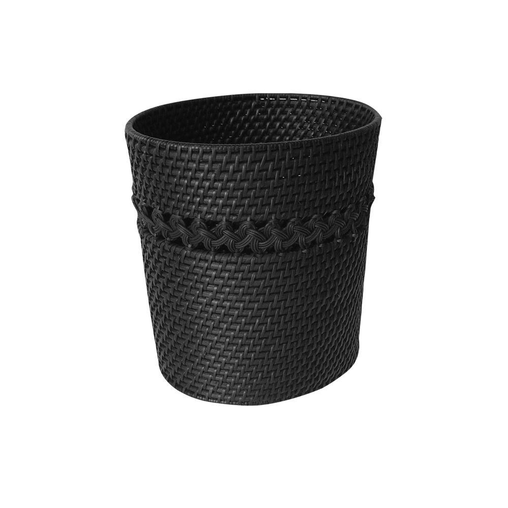 Tahiti Counter Top Accessory Cane Weaved Oval Waste Basket in Dark