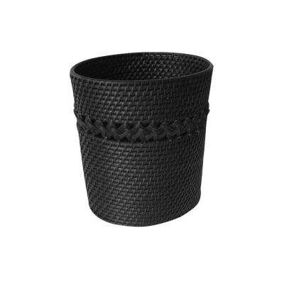Tahiti Counter Top Accessory Cane Weaved Oval Waste Basket in Dark Espresso