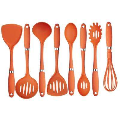 8-Piece Nylon Utensil Set in Orange