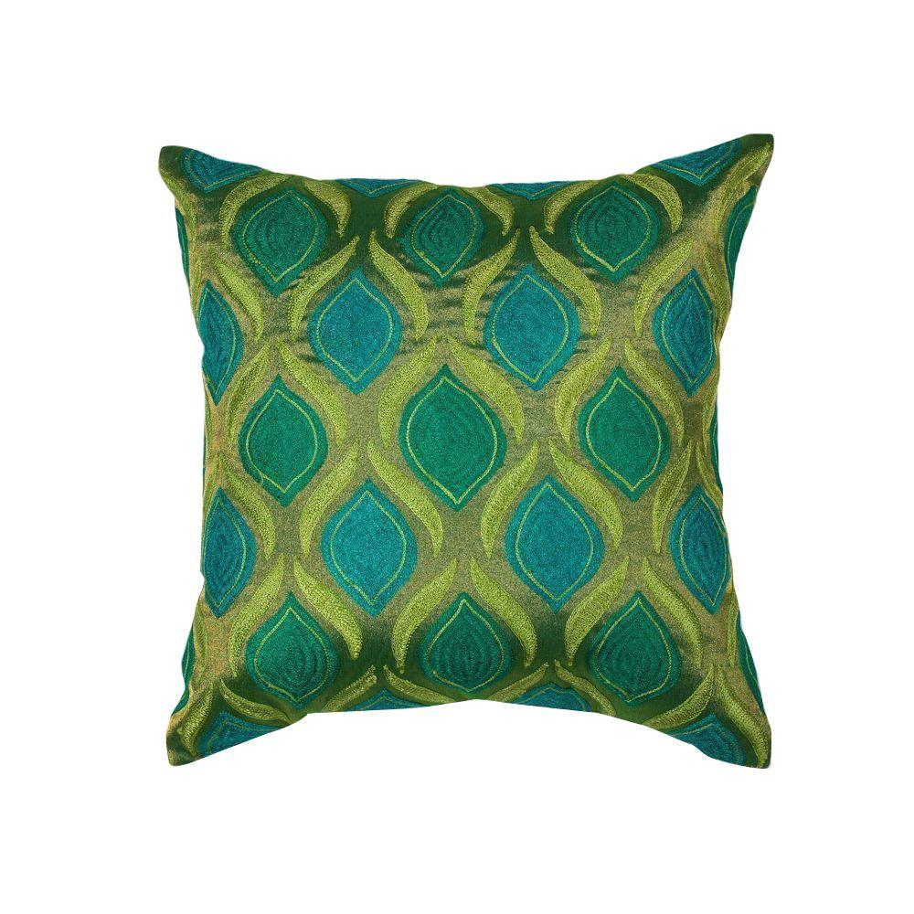 Kas Rugs Fresh Cool Teal And Green Geometric Hypoallergenic Polyester 18 In X 18 In Throw Pillow Pill10718sq The Home Depot