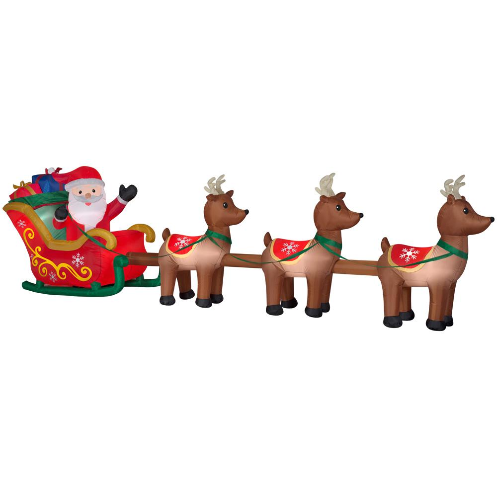 Good Inflatable Airblown Santa In Sleigh With Reindeers 15238   The Home Depot