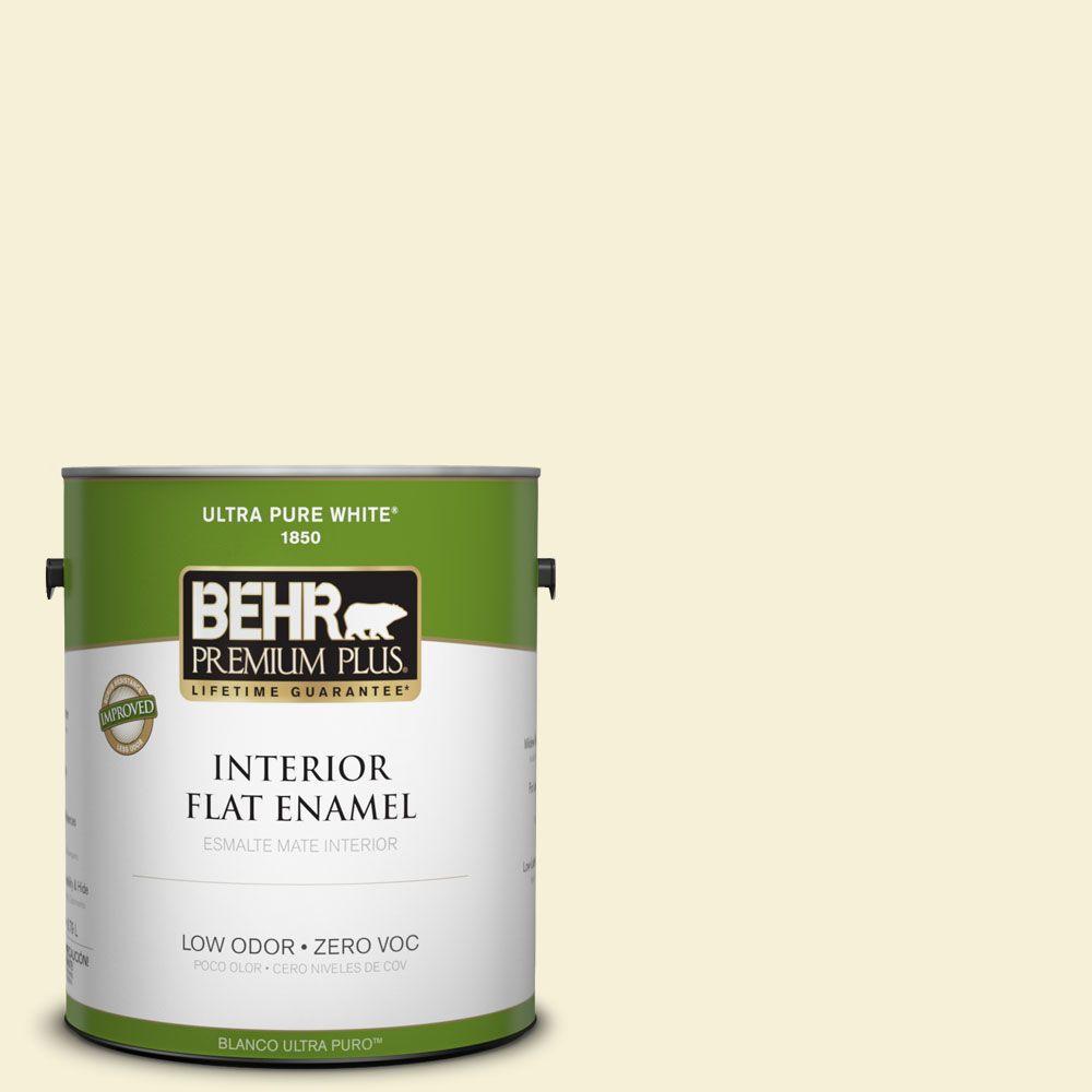 BEHR Premium Plus 1-gal. #W-B-310 Glow Zero VOC Flat Enamel Interior Paint-DISCONTINUED