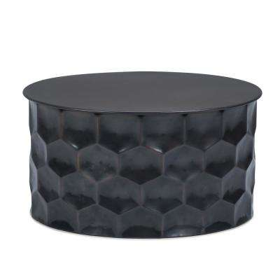 Whitney Contemporary Round 31 in. Wide Metal Storage Coffee Table in Antique Bronze