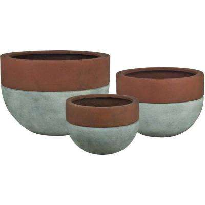 Esteras Collection Vasos Round Concrete-Rust Fiberglass Bowl Planters (Set of 3)