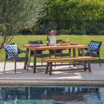 Arian 6-Piece Wood and Wicker Outdoor Dining Set with Stacking Chairs and Bench