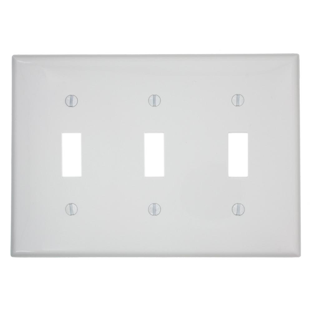 3-Gang 3-Toggles Standard Size Heavy Duty Nylon Wall Plate, White