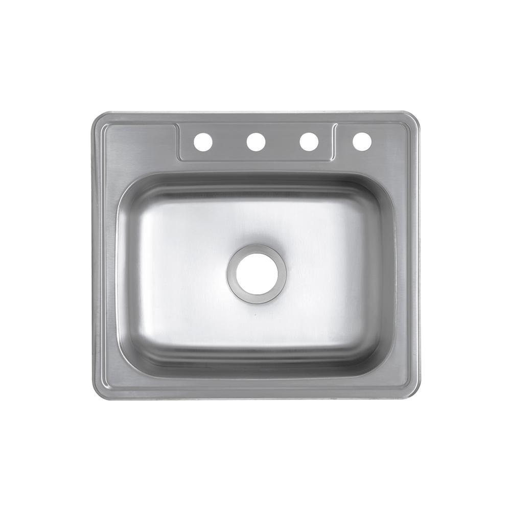 Glacier Bay Drop-In 20-Gauge Stainless Steel 25 in. 4-Hole Single Bowl Kitchen Sink