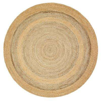 Natural Jute LR12032-NGY40RD Natural/Gray Round 4 ft. x 4 ft. Indoor Area Rug