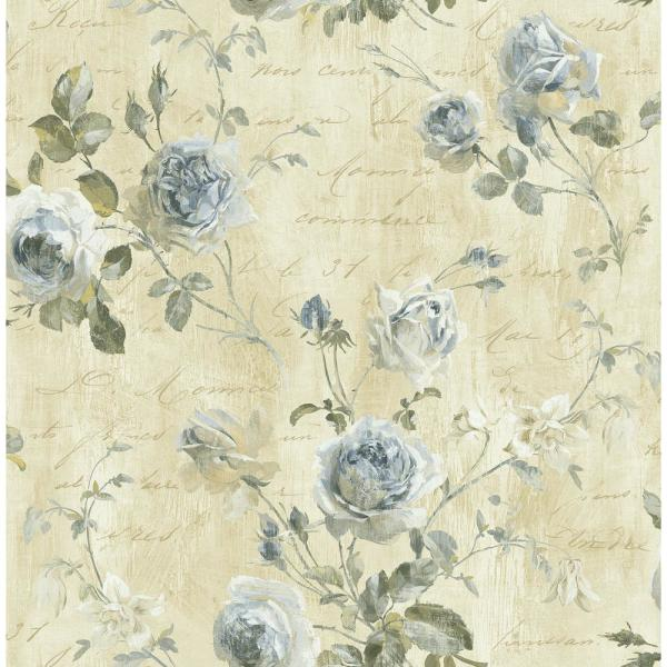 Seabrook Designs Charleston Floral Tan and Denim Calligraphy Wallpaper CT40018