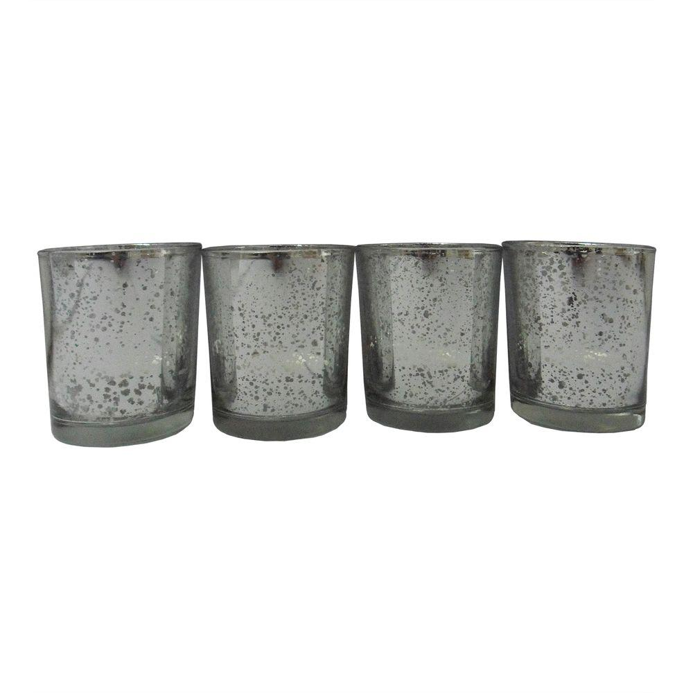 Home Accents Holiday Silvered Glass Tealight Candle Set (8-Set)
