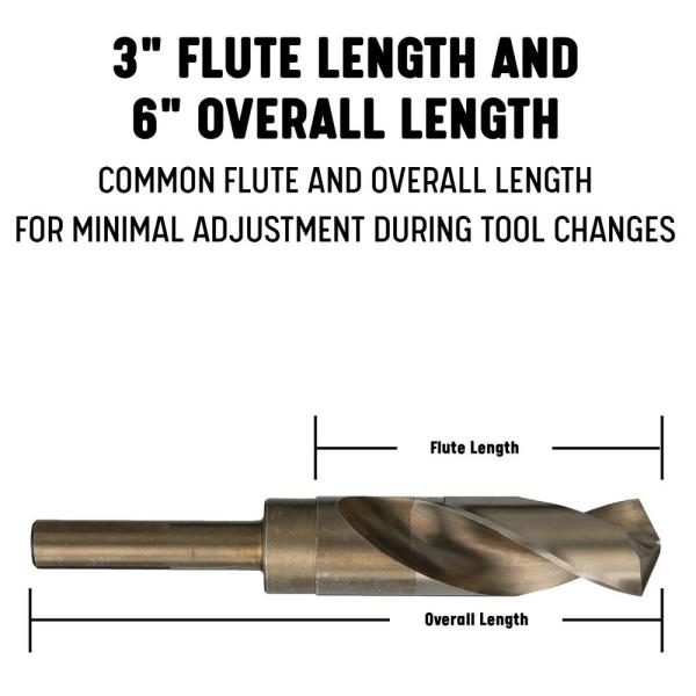 Pack of 6 Drill America 3//8 Cobalt Split Point Stub Length Drill Bit DWDSTCO Series