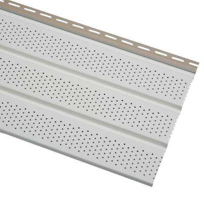 Economy T4 12.75 in. x 12 ft. White Vinyl Vented Soffit