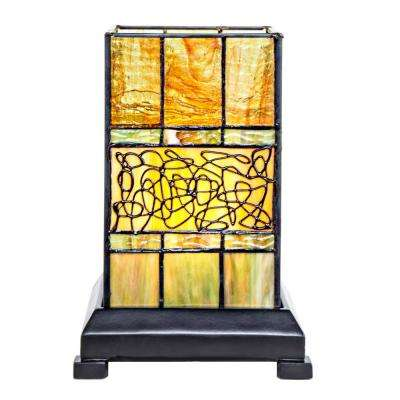9.63 in. H Green Craftsman Style Stained Glass Hurricane Uplight Table Lamp
