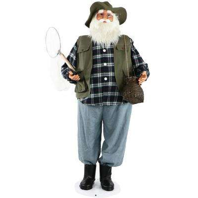 58 in. Christmas Dancing Santa in Fishing Outfit with Net and Fish Basket