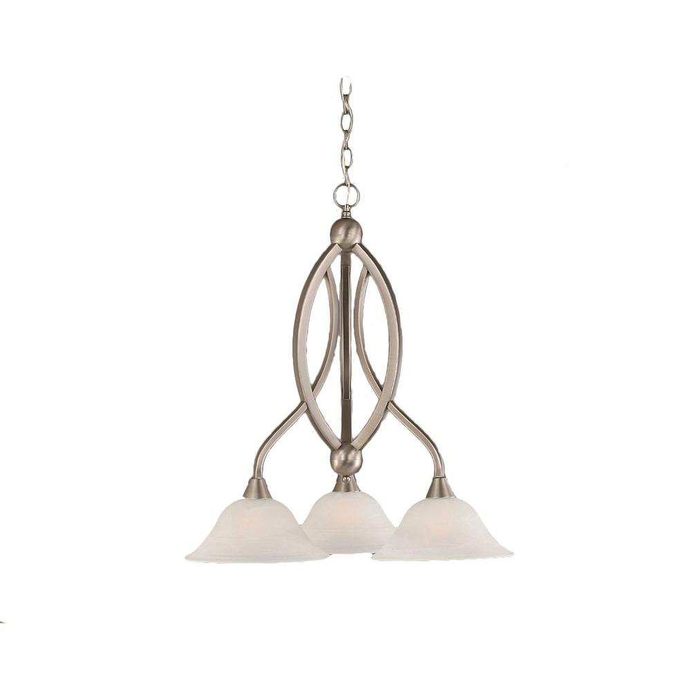 Concord 3-Light Brushed Nickel Chandelier with White Alabaster Glass