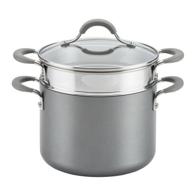 Elementum  5 Qt. Oyster Gray Hard-Anodized Nonstick Covered Multipot with Steamer Insert