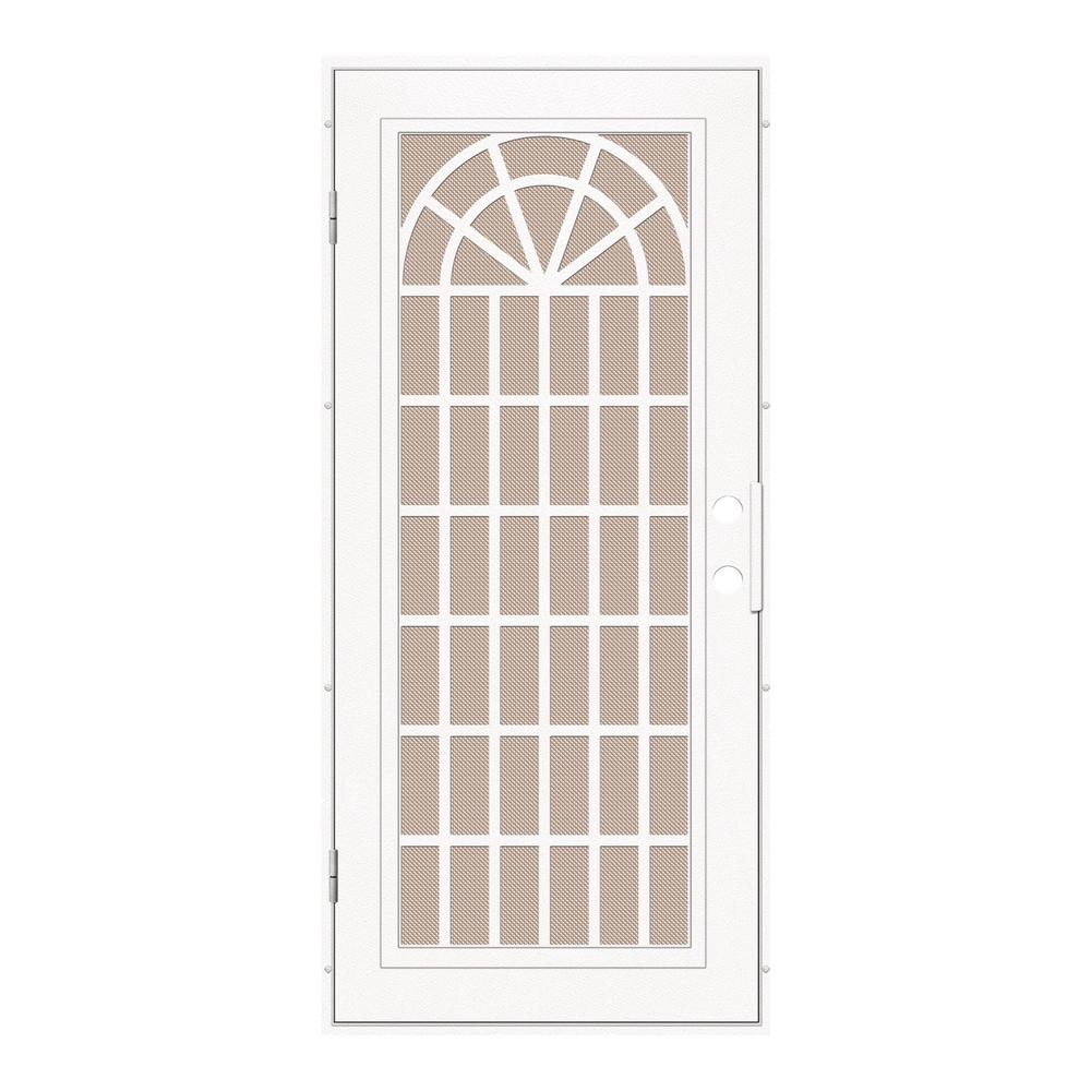 unique home designs 30 in x 80 in trellis white left hand surface mount security door with. Black Bedroom Furniture Sets. Home Design Ideas