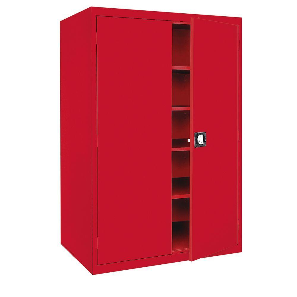 Sandusky Elite Series 72 In H X 36 In W X 18 D 5 Shelf Steel Recessed Handle Storage Cabinet In Red Ea4r361872 01 The Home Depot