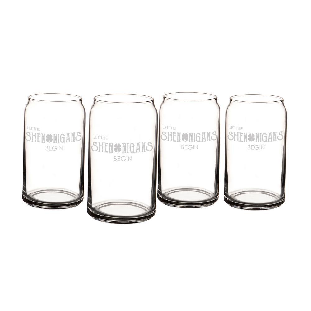 St. Patrick's Day Shenanigans 16 oz. Beer Can Glasses (Set of 4)