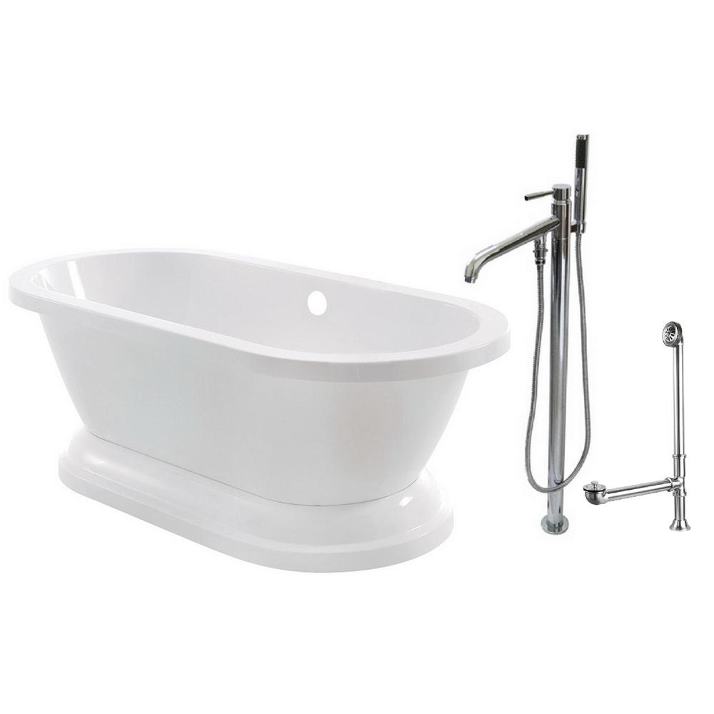 Aqua eden pedestal 5 6 ft acrylic flatbottom bathtub in for 6 tub shower combo