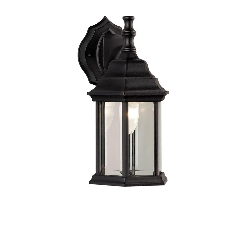 1 light black outdoor wall sconce owl4 blk the home depot for Black exterior sconce