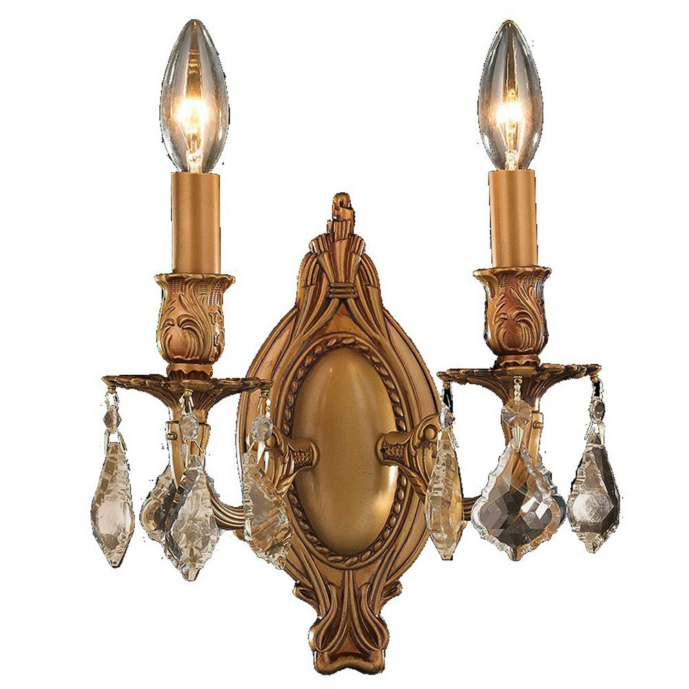 Worldwide Lighting Windsor 2 Light French Gold And Golden Teak Crystal Candle Wall Sconce