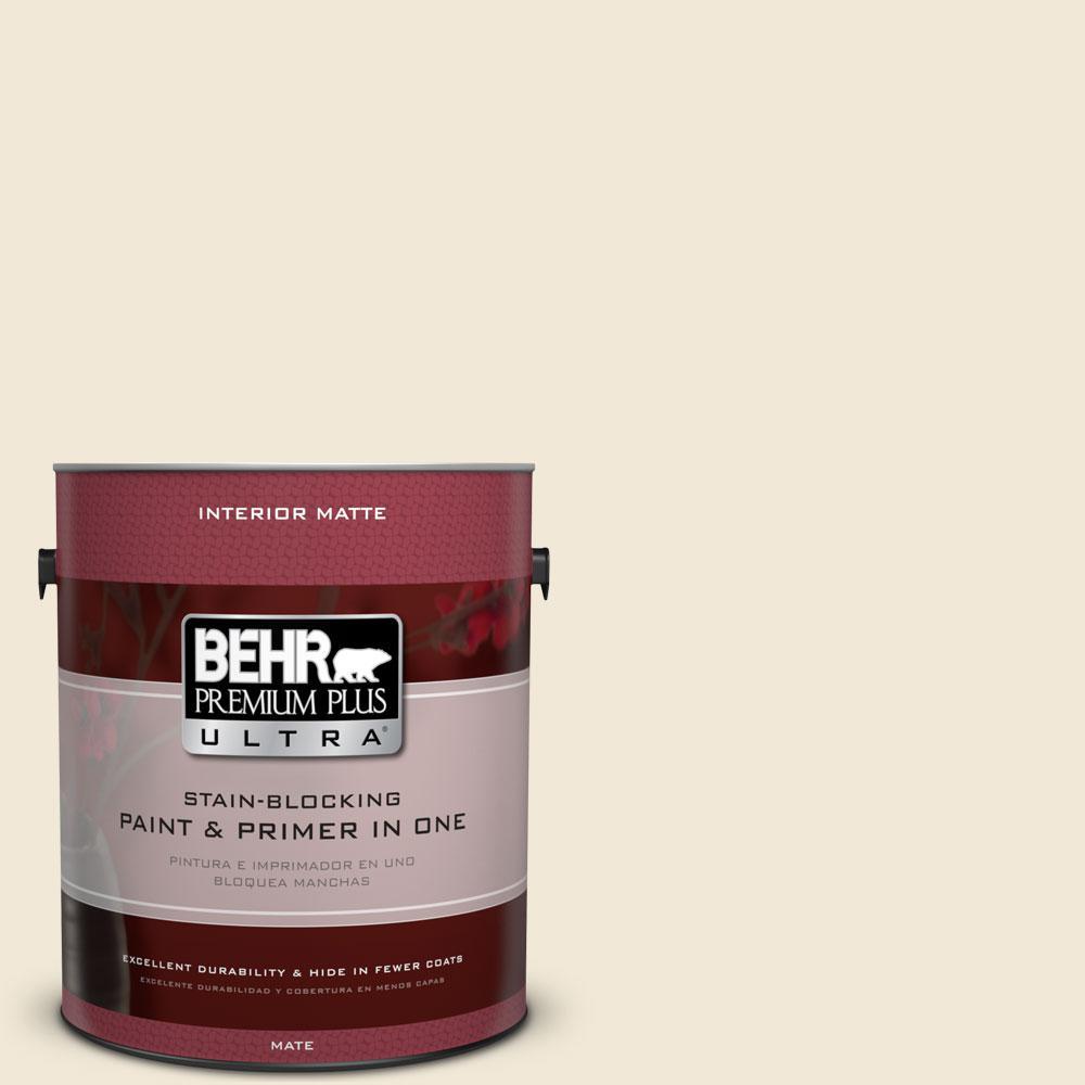 BEHR Premium Plus Ultra 1 gal. #YL-W8 Yucca White Matte Interior Paint