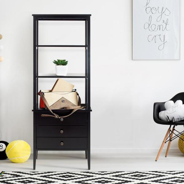 Casual Home Edison Black 3-Shelf Bookcase 328-52
