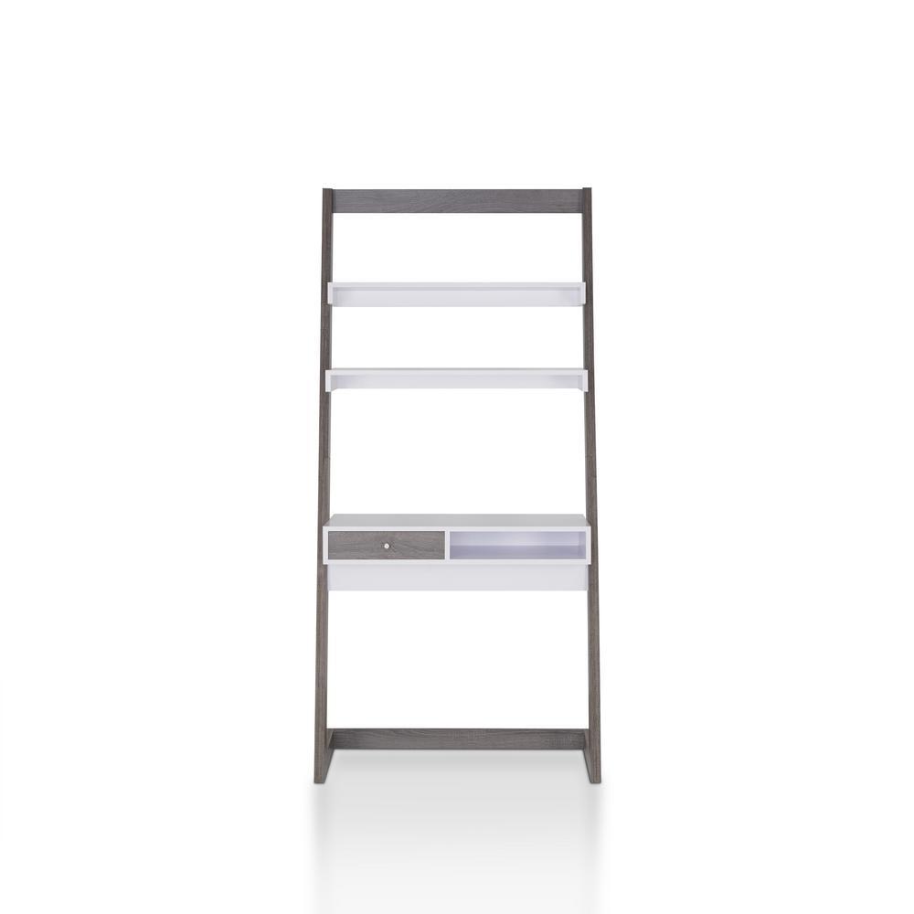 Kurtis Distressed Gray Desk with 3-Shelves