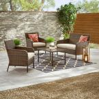 Hampton Bay Gableton 4-Piece Steel Outdoor Patio Wicker Conversation Set
