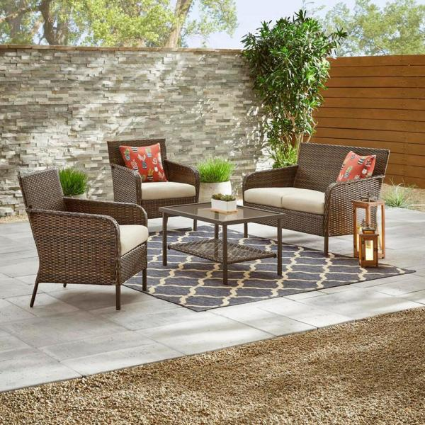 Hampton Bay Gableton 4 Piece Steel Outdoor Patio Wicker Conversation Set With Beige Cushions Gi 18048 The Home Depot