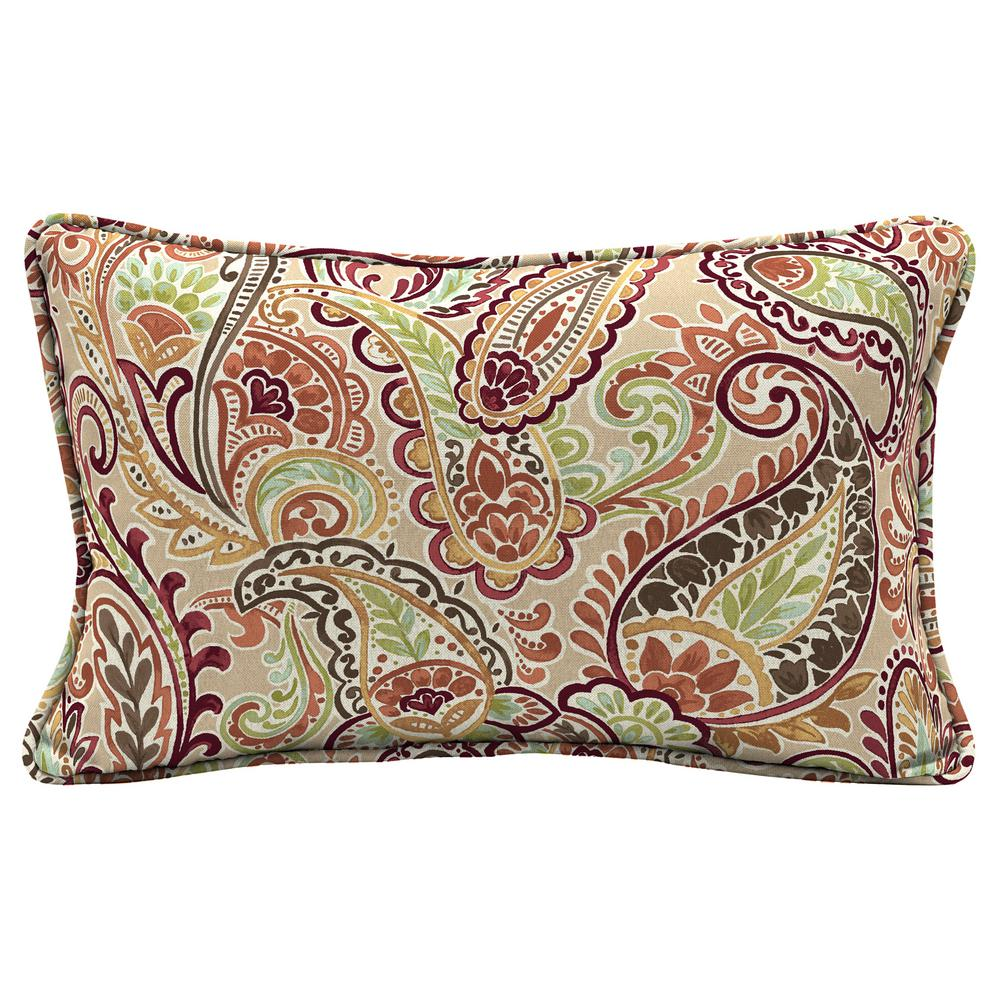 Chili Paisley Lumbar Outdoor Throw Pillow
