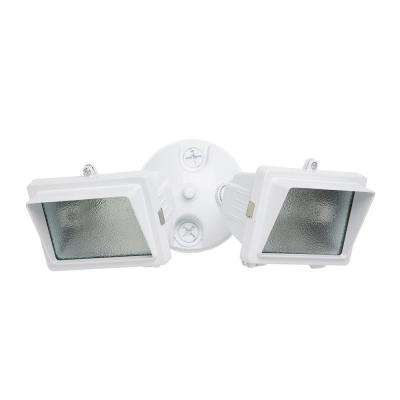 300-Watt White Outdoor Landscape Flood Light with Twin Heads and Halogen Bulb