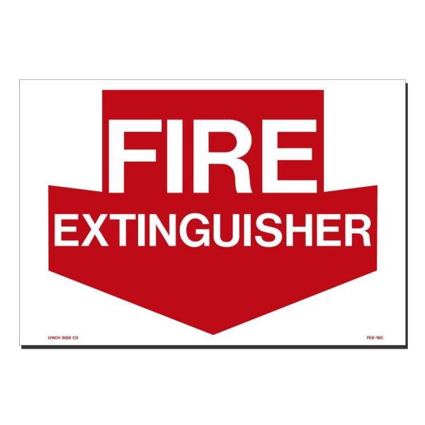 14 in. x 10 in. Decal Red on White Sticker Fire Extinguisher
