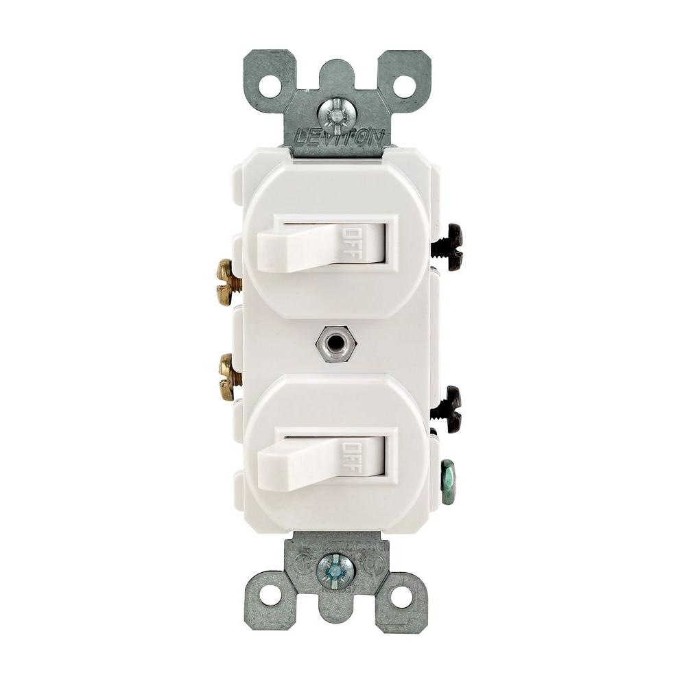 Leviton 15 Amp Combination Double Rocker Switch, White-R62-05224-2WS ...