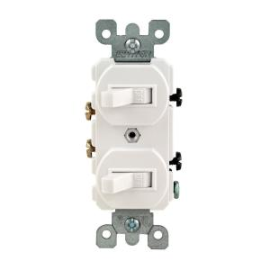 Leviton 15 Amp Combination Double Switch, White-R62-05224-2WS - The on