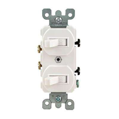 15 Amp Combination Double Rocker Switch, White