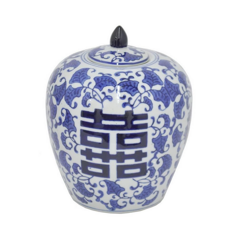 7.75 in. Blue and White Ceramic Jar