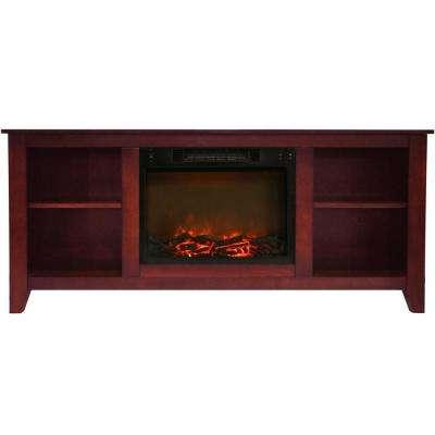 Santa Monica 63 in. Electric Fireplace and Entertainment Stand in Cherry with 1500-Watt Charred Log Insert