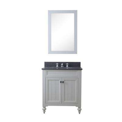Potenza 30 in. W X 33 in. H Vanity in Earl Grey with Granite Vanity Top in Blue Limestone with White Basin and Mirror