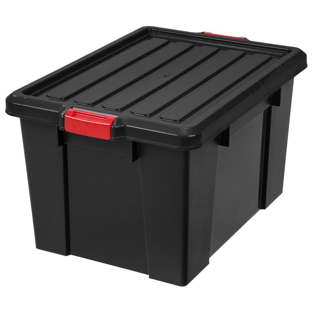 IRIS 70 Qt. Heavy Duty Storage Tote in Black (4-Pack)