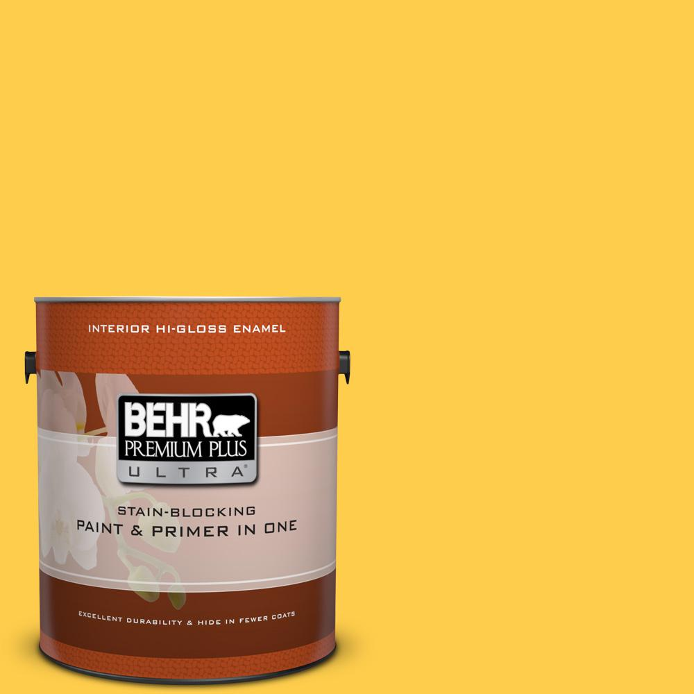 1 gal. #360B-6 Flame Yellow Hi-Gloss Enamel Interior Paint