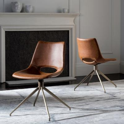 Danube Light Brown/Brass Leather Swivel Dining Chair (Set of 2)