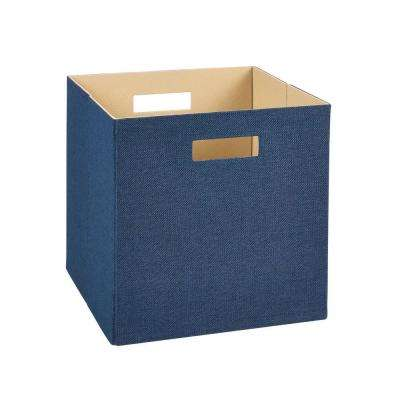 13 in. H x 13 in. W x 13 in. D Decorative Fabric Storage Bin in Blue