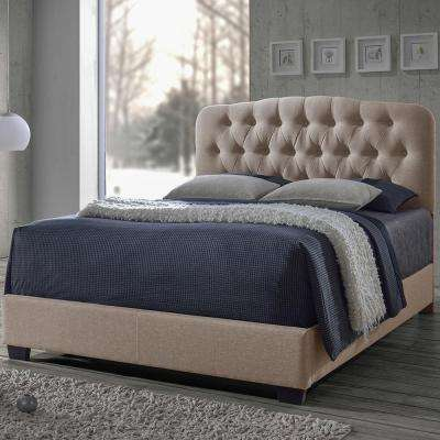 Romeo Transitional Beige Fabric Upholstered Queen Size Bed
