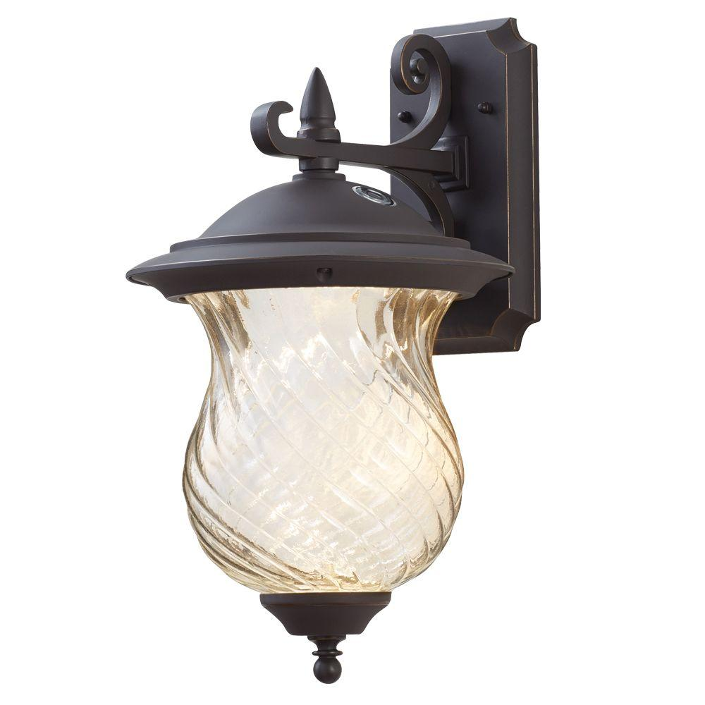Home Decorators Collection Aged Patina Outdoor Integrated Led Wall Mount Lantern With Photocell