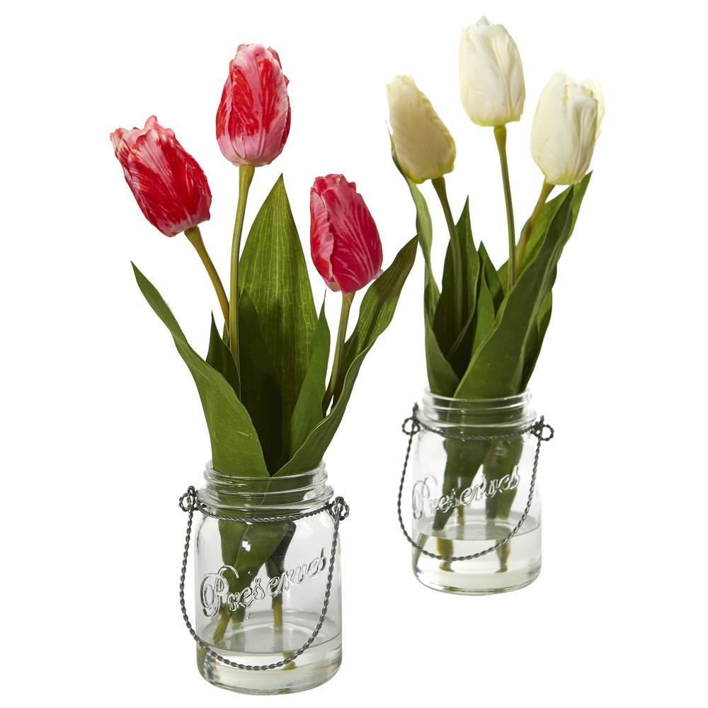 Indoor Tulip Artificial Arrangement in Jar (Set of 2)