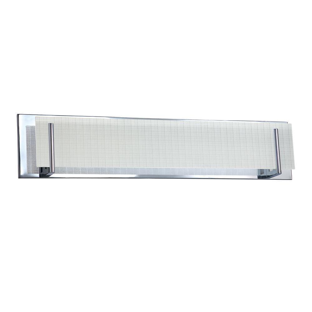 Aurora Series 5-Light Chrome Vanity Light with Linen Glass